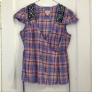 Like-New Plenty by Tracy Reese Tartan Wrap Top